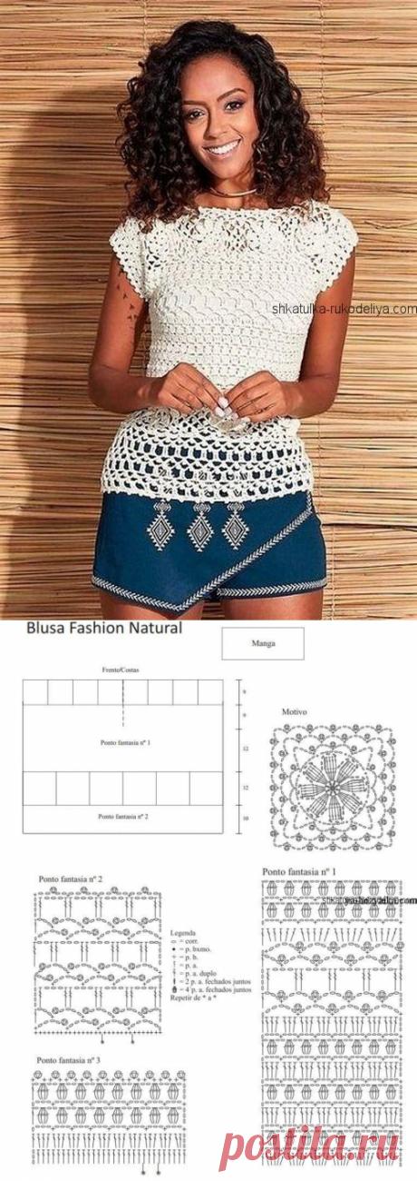 Белая блуза крючком с мотивами.Вязание крючком летних кофточек схемы бесплатно | Шкатулка рукоделия. Сайт для рукодельниц.