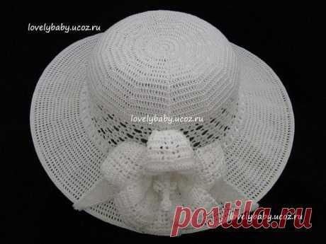 Шляпа с большими полями. Вязание крючком