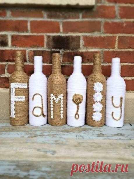 Декор бутылок в интерьере