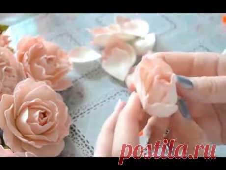 Gentle rose from a foamiran of master class \/ Foam tutorial
