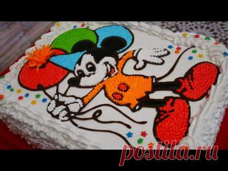 Торт для МАЛЬЧИКА.Детский ТОРТ РАСКРАСКА.Украшение торта белково заварным кремом в домашних условиях - YouTube