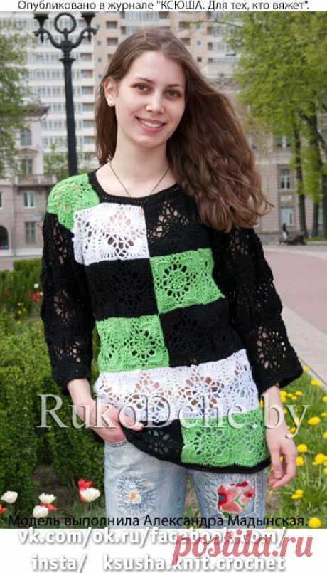 Пуловер из квадратных мотивов крючком.