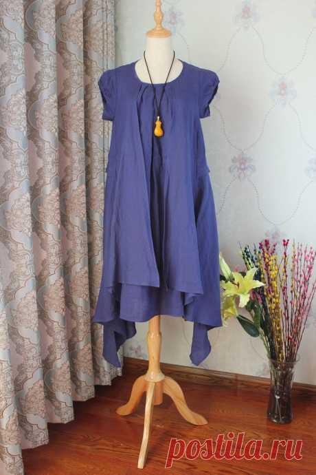 Womens midi dress Summer Linen Dresses short sleeved   Etsy
