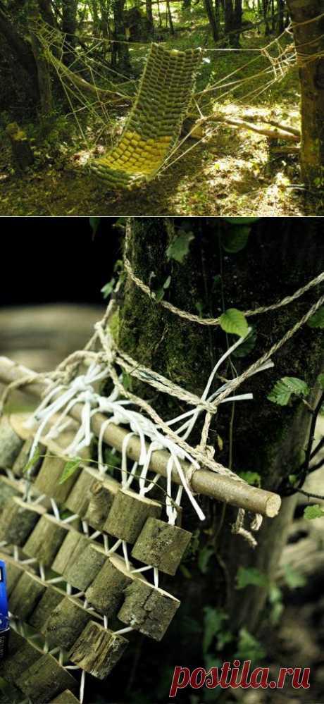 Такой чудный гамак может сделать любой, например на даче или выносной для походов в лес)