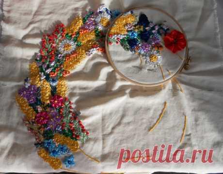 Большое панно: вышивка атласными лентами