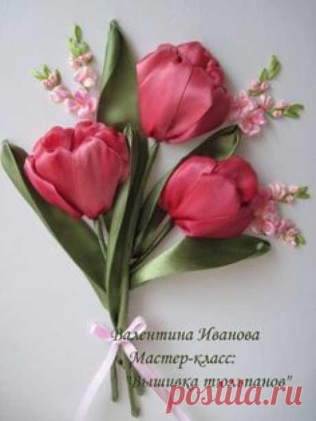 Вышивка лентами МК Мастер класс Цветы из лент