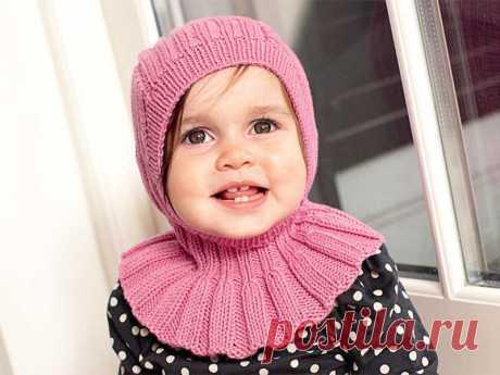 Шлем с пелериной - схема вязания спицами. Вяжем Шапки на Verena.ru