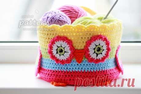 """– Knitting by the Hook, Food, Photo Basket Hook Owl (Pattern About 057) \""""Zoom Yum-yum"""