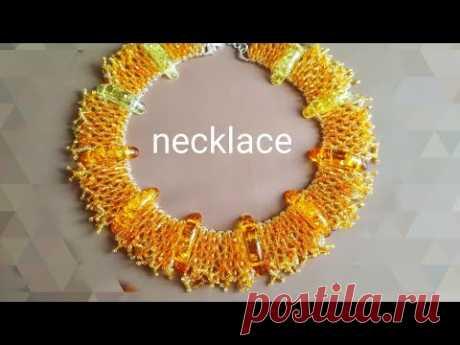 DIY. Beaded necklace. Колье из бисера и бусин. МК