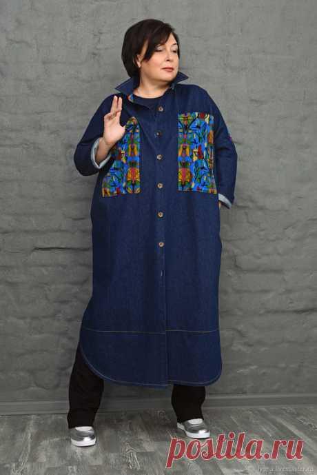 e6346ba58c39691 Купить Платье-пальто темно-синее джинсовое. Арт. 1072 - тёмно-синий