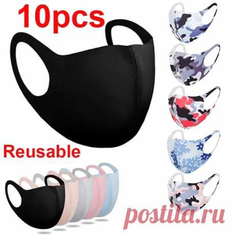 352.02руб. 35% СКИДКА | 10 шт., маска для лица, черная маска для лица многоразовая маска моющиеся Mascarillas защитная маска для лица | Женские маски|