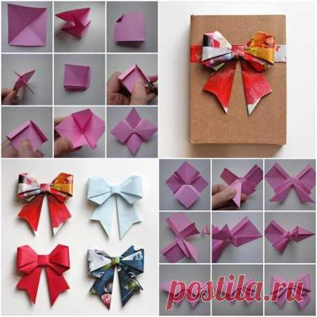 How to Make Beautiful Paper Origami Bow with One Sheet of Paper