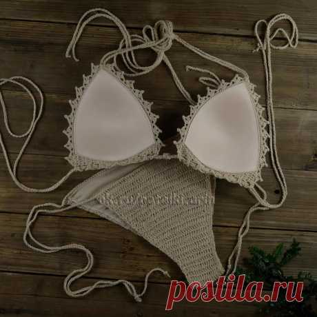 You love knitted bathing suits, but you worry how to be with a cup? Here to you answer. We take a ready cup, we puncture holes on perimeter, we tie. Further we knit according to any pleasant scheme. By the way, we share them with you too!
