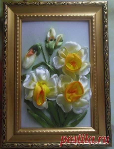 Мастер-класс по вышивке лентами цветка нарцисса