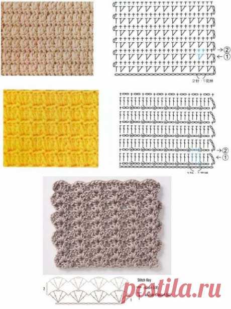 Большая подборка узоров для вязания крючком | Рукоделие
