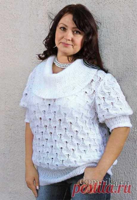 Белая вязаная кофточка для женщин 50-60 лет - кофточки спицами для полных