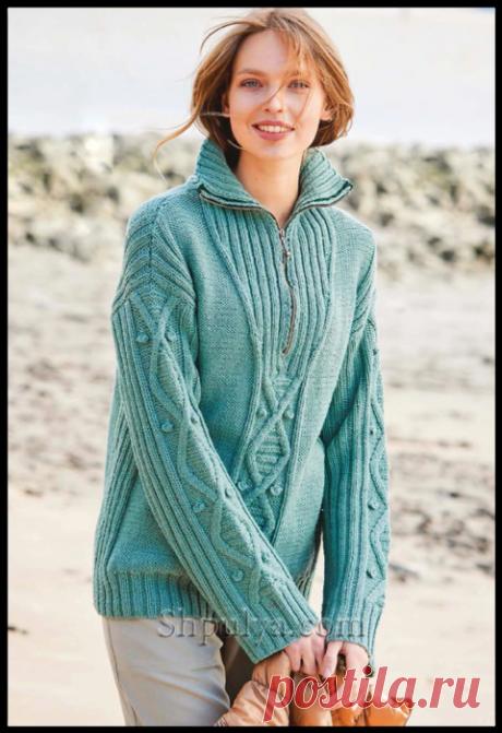 Мятный пуловер с миксом узоров и застежкой-молнией на воротнике