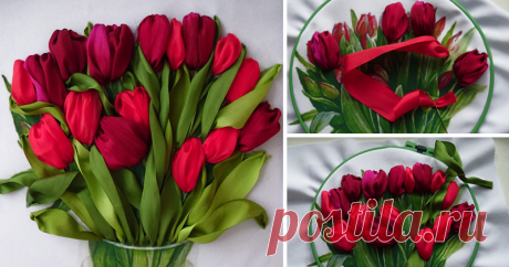 To embroider a bouquet of tulips with tapes? Easily!
