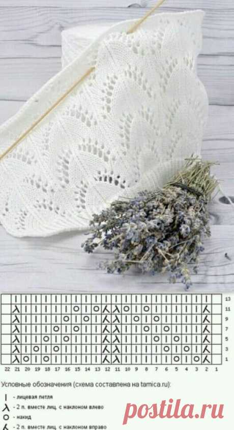 Узор для палантина спицами Вязание (шарфы, снуды, шапки, носки, варежки)