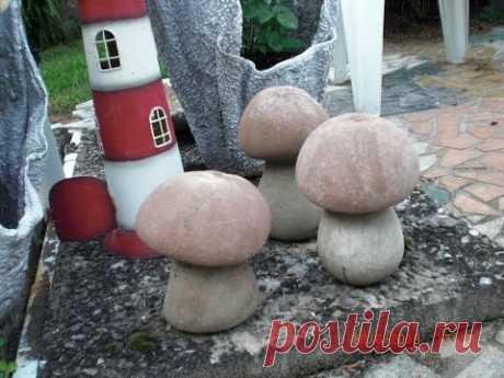 Pilze aus Beton mit Damenstrümpfen machen - mushrooms made of concrete