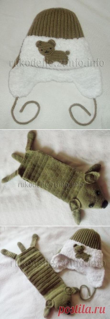 """Вязаные зимняя шапочка-ушанка и зверошарфик """"Песик"""" для мальчика 2-3 лет"""