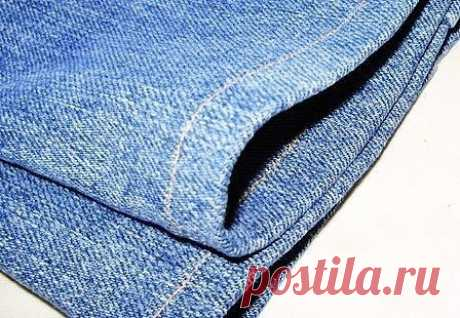 Как подшить джинсы.