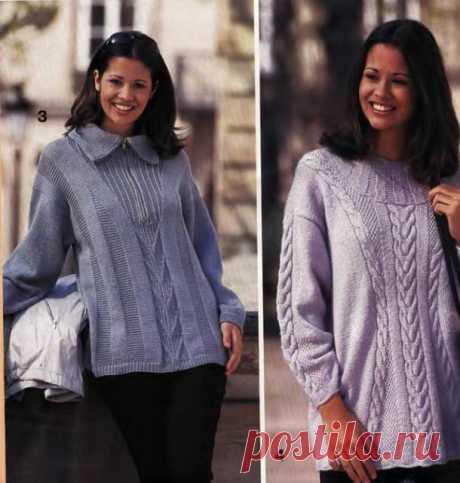 Два интересных пуловера спицами      источник