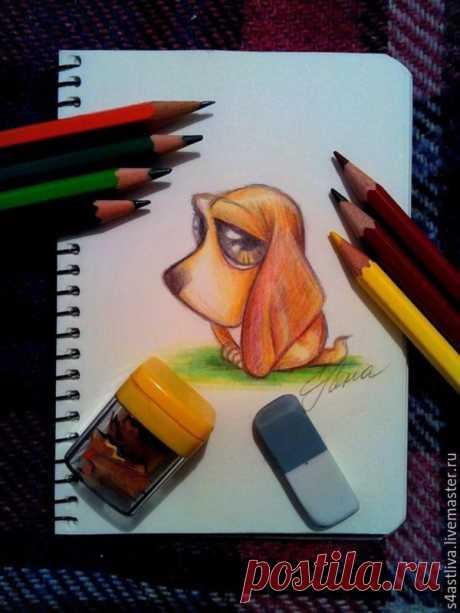 Мастер-класс: как нарисовать грустного щеночка цветными карандашами | Журнал Ярмарки Мастеров Мастер-класс: как нарисовать грустного щеночка цветными карандашами – бесплатный мастер-класс по теме: Tворим с детьми ✓Своими руками ✓Пошагово ✓С фото