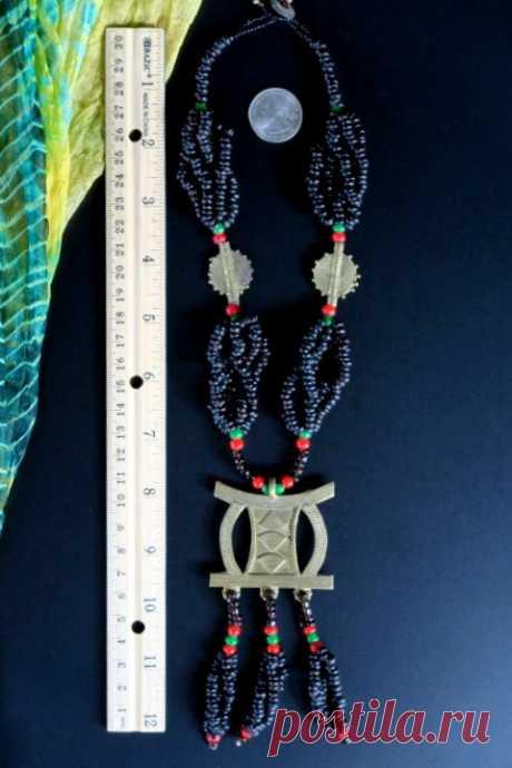 Большое Африканское ожерелье из латуни с подвеской из Боле из Ганы