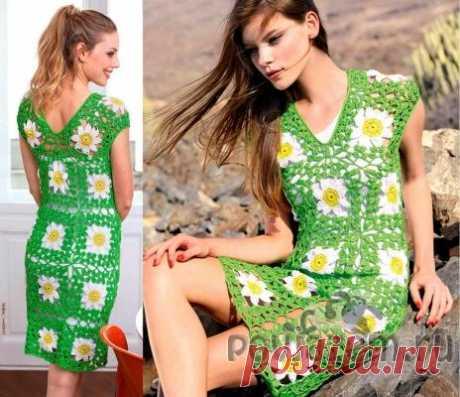 Платье крючком из ажурных мотивов
