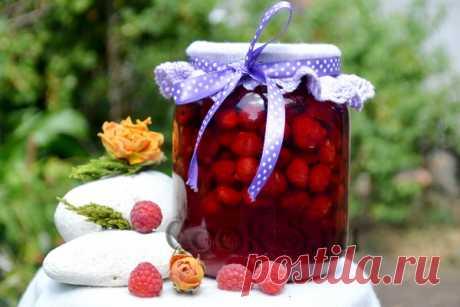 Малина в собственном соку на зиму без варки - рецепт с фото