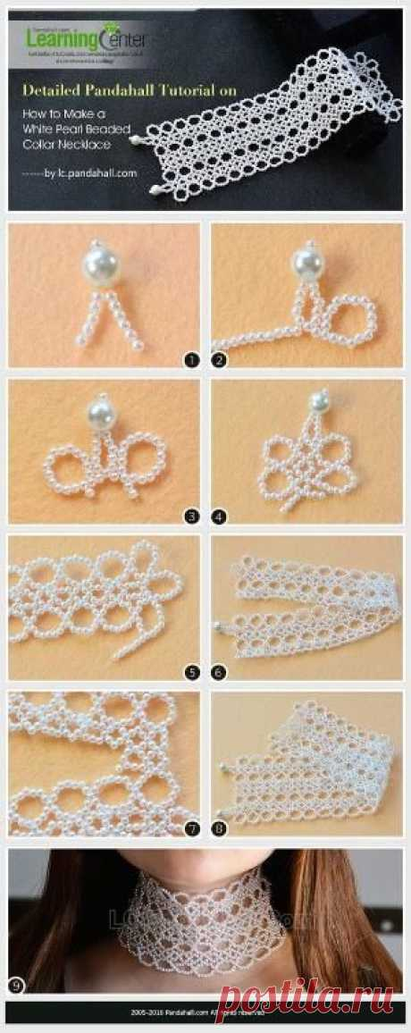 Detailed Pandahall Tutorial on How to Make a White Pearl Beaded Collar Necklace from LC.Pandahall.com   Jewelry Making Tutorials & Tips 2   Pintere…