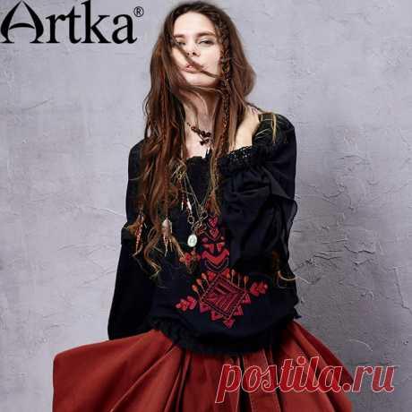 Artka 2015 женская ретро новая коллекция весенней одежды этническая чешская экзотическая черная хлопоковая блузка с вышивкой и кружевами SA14151C купить на AliExpress