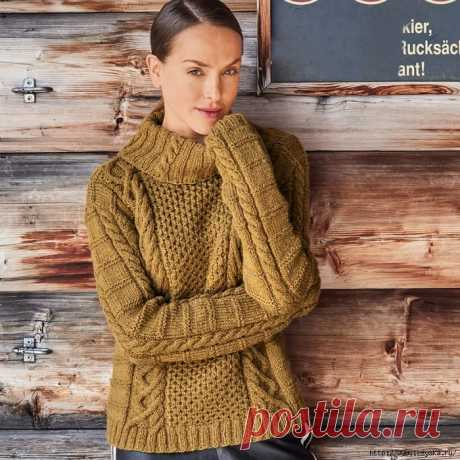 """Удобный """"золотой"""" свитер с эффектным сочетанием четырех узоров!"""
