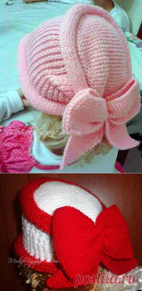 Оригинальная шапочка спицами для девочек - Modnoe Vyazanie ru.com