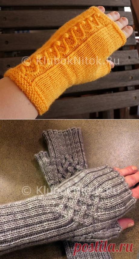 Оранжевые митенки   Вязание для женщин   Вязание спицами и крючком. Схемы вязания.