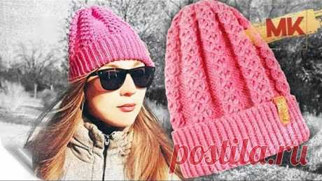 ВЯЖЕМ МОДНУЮ ШАПКУ НА ОСЕНЬ-ЗИМУ / Подробный МК по вязанию женской шапки спицами