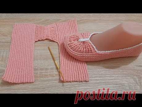 طريقة عمل حذاء كروشيه بقطعة واحدة how to crochet a nice shoes