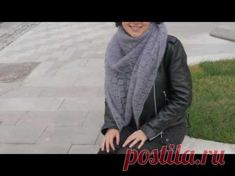 Вяжем шикарную шаль спицами! Подробный МК для начинающих Схема шали и описание шали спицами - YouTube