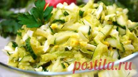 Салат из кабачков с огурцами: настолько вкусный, что сражает наповал!