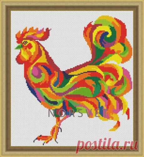 Петушок-Золотой гребешок - вышивка крестиком