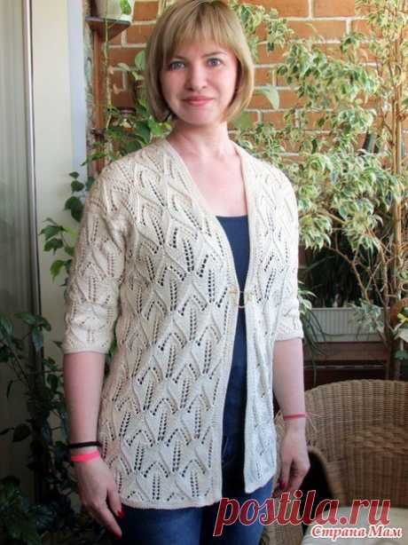 Летний ажурный жакет из хлопка (Вязание спицами) – Журнал Вдохновение Рукодельницы