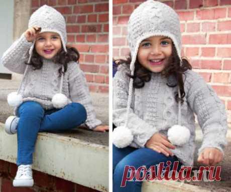 Вязаный пуловер для девочки + шапочка