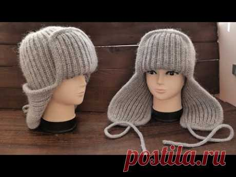 Тенд Осени 🔥 ШАПКА УШАНКА спицами 👑 Knitted Earflap Hat