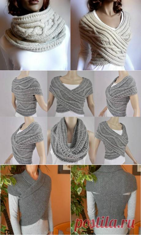 Как связать шарф-хомут спицами