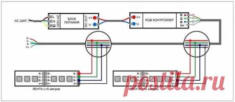 Схемы подключения светодиодной ленты
