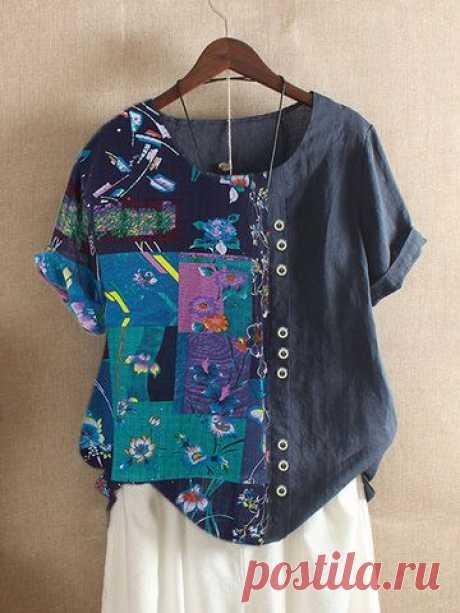 O-NEWE Богемный принт с коротким рукавом Лето Plus Размер Платье - NewChic мобильный