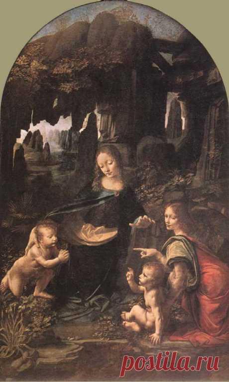 Дева Мария в гроте. 1483-1486, деревo, масло, 199 x 122 cм, Лувр, Париж. Мария, в темной синей одежды, сидит или стоит на коленях, почти в центре группы. Она пристально и мягко смотрит на просящего Иоанна, правой рукой обнимая его за плечи, в то время как, ее левая рука поднята защищающе над Иисусом.  Ангел пристально глядит из картины с тихой улыбкой, устанавливая контакт со зрителем.