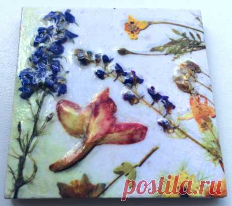 плитка ручной работы, плитка гербарий купить, плитка цветы, плитка стиль прованс