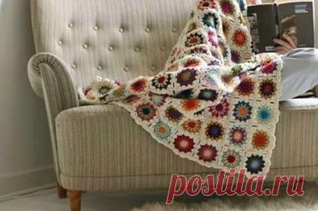 Как связать одеяло из остатков пряжи / Музыка Рукоделия
